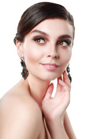 beauty shot: beautiful woman wearing earrings beauty shot close up
