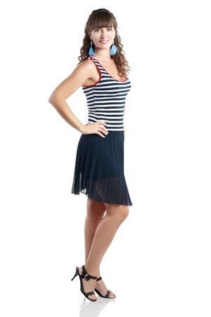 summer dress: Portrait of happy middle aged woman wearing summer dress