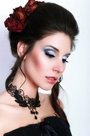 jabot: beautiful fashion vampire victorian style woman posing close up