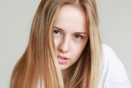 only one girl: portrait of a beautiful teenage girl closeup