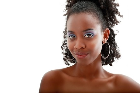 woman portrait: Beautiful black woman face with perfect make up over white Stock Photo