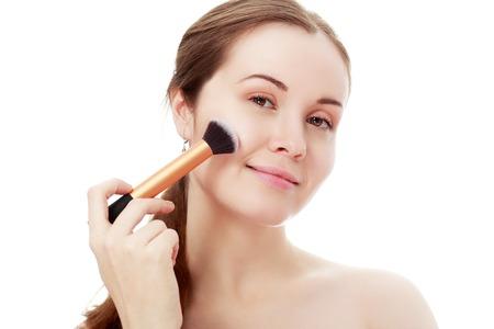 Makeup. Make-up Applying.Rouge.Blusher