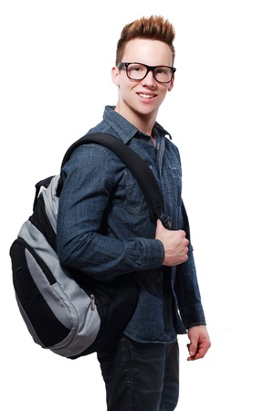 back pack: young man college student with back pack and glasses smiling