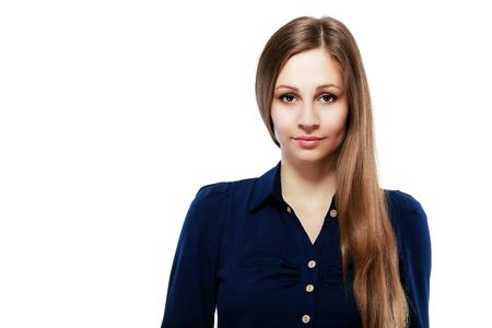 berufliches Portrait der Geschäftsfrau. Junger weiblicher Geschäftsfraunah herauf das Porträt lokalisiert auf weißem Hintergrund. Asiatisches kaukasisches weibliches Modell der Mischrasse in ihren Zwanziger Jahren. Standard-Bild