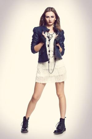 body toning: rock style full body beautiful fashion woman portrait fashion toning