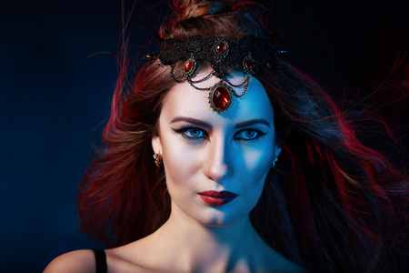 mysterious woman: Portrait of mysterious woman perfect make up queen of the night