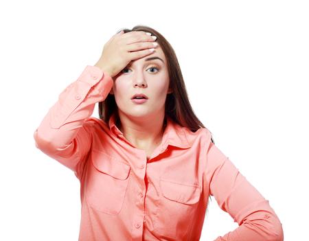 exaggerate: Closeup portrait of annoyed beautiful woman  Stock Photo