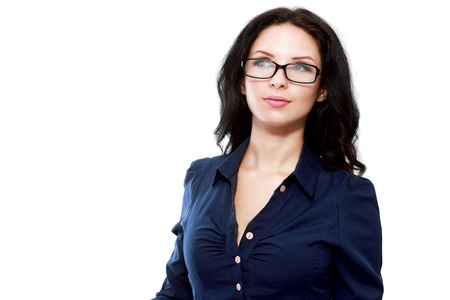 skepticism: Thoughtful business woman smiling - isolated over white Stock Photo