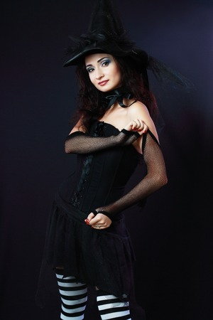 velvet dress: Cheerful witch in purple and black gothic fantasy Halloween costume