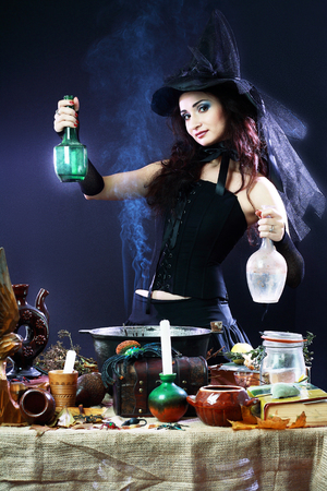 girl magic wand: Fantasy magic portrait of sexy beautiful woman making spell