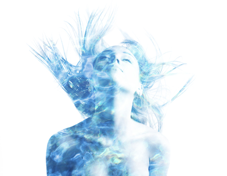 beautiful blond woman double exposure with water sparks