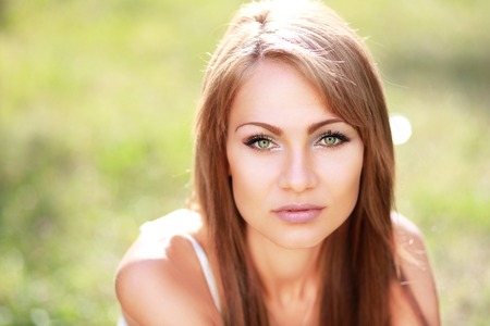 pretty eyes: Portrait close up of young beautiful woman