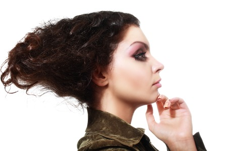 light complexion: beautiful high fashion female model with fantasy hair style and art make up skincare concept