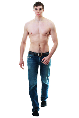 topless jeans: the young man walking isolated on white background Stock Photo