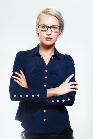short haircut: blond business woman in glasses with short haircut Stock Photo