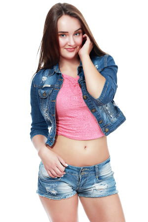 Image of cute teen model posing in jeans clothes Reklamní fotografie