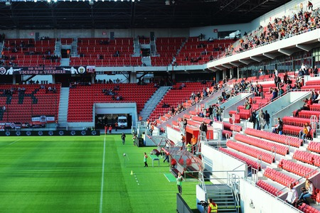 ultras: City Arena stadium in Trnava, Slovakia, soccer play Spartak Trnava (SVK) sv Mijava, October 3, 2015 Editorial