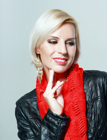 Portrait of beautiful charming smiling woman with blond hair and short haircut Stock fotó