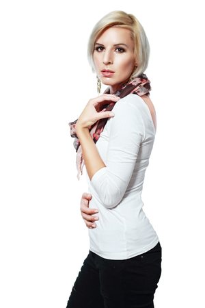 short sleeve: beautiful blond female model in short sleeve black and white checkered blouse