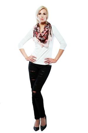 short sleeve: beautiful blond female model in short sleeve white shirt with flowered scarf autumn fashion Stock Photo