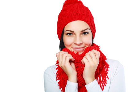 attractive gorgeous: trendy woman in red hat and muffle Stock Photo