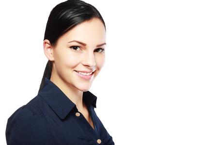 Close-up Portret van lachende zakenvrouw, geïsoleerd op een witte achtergrond Stockfoto