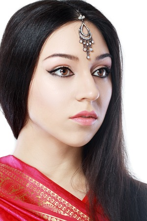 beauty woman face: Indian beauty face close up perfect make up. Series. young beautiful brunette in traditional national dress Stock Photo