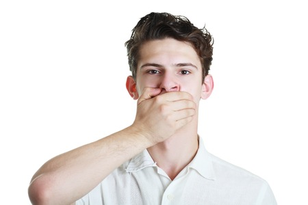 speechless: Closeup portrait of white man with hand over his mouth, stunned and speechless, isolated on white background Stock Photo