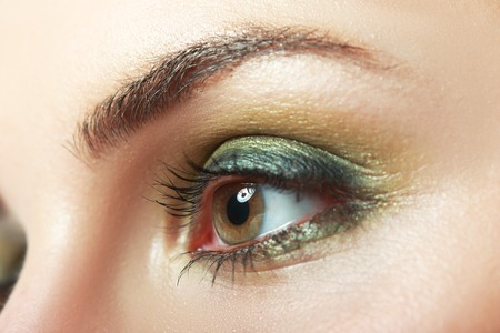 eyelids: extreme closeup of beautiful womanish eye with glamorous khaki smoky makeup macro