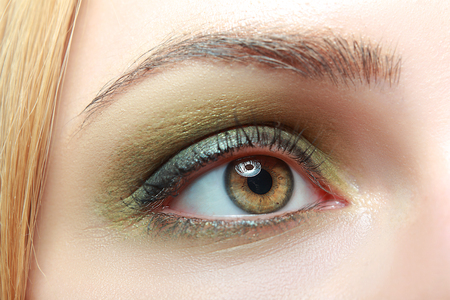 extreme closeup of beautiful womanish eye with glamorous khaki smoky makeup macro Reklamní fotografie