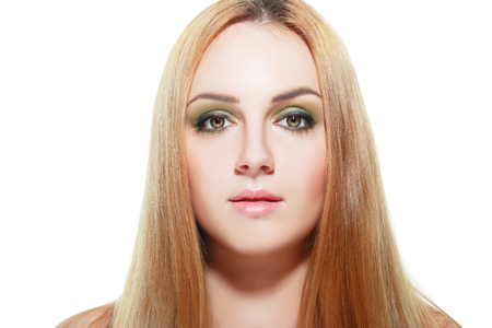 green eyes: close-up beautiful blond girl with green eyes. beauty woman.professional make-up