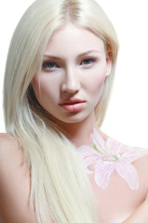 bodyart: portrait of beautiful girl with floral theme bodyart