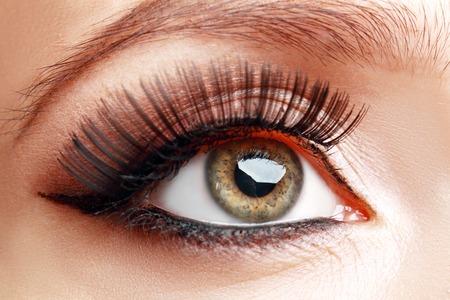 cilia: extreme closeup of beautiful womanish eye with glamorous makeup macro
