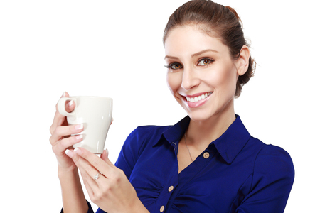 dress code: Smiling Business woman hold white coffee cup. Business woman dress code. White background. Coffee break. Isolated.