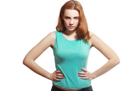 Contrariato sospetto giovane donna isolata negativo espressione faccia percezione emozione arrabbiata