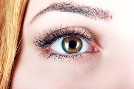 cerca del ojo marrón de mujer con pestañas postizas