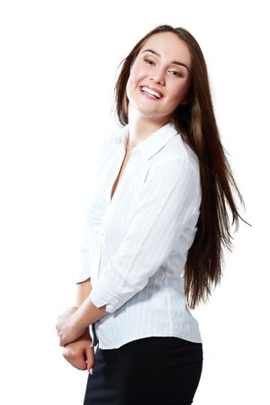 18's: Surprised excited woman screaming amazed in joy. Beautiful young woman isolated on white background in casual white shirt. Caucasian female model in her 18s