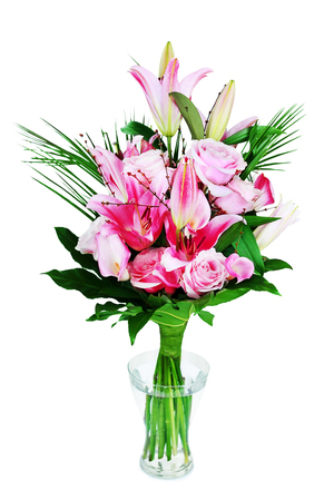 bouqet: beautiful bouqet of pink lillyes and roses in vase