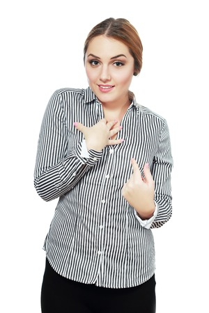 lack of confidence: Closeup portrait of surprised, flirting young business woman student getting unexpected attention from man she likes asking you talking to, you mean me? Isolated on white background. Facial expression