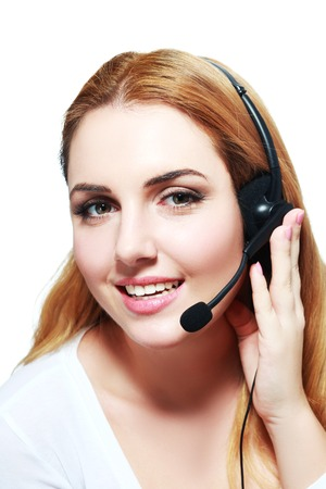 garniture: Portrait of happy smiling cheerful support phone operator in headset