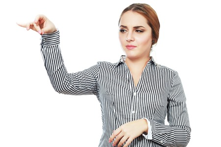 disgust: business woman hold something with disgust