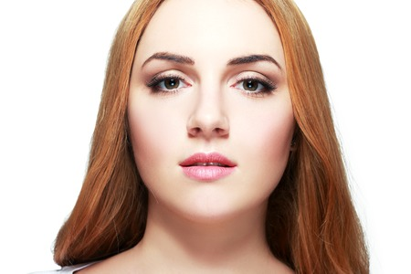 bleaching: Beautiful female face - young woman isolated