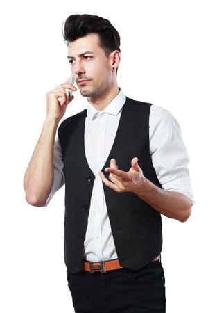 pretend: man holding pretend talking telephone over white