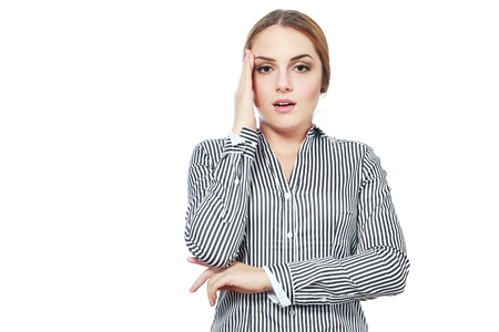 young business woman suddenly remember something important