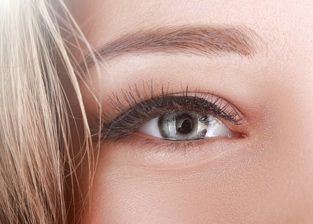 natural make up: macro shot of females beautifull grey eye with long lashes and natural make up with black arrow