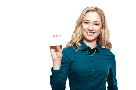 half length: half length portrait of caucasian young woman with nice smile isolated on white background