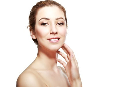half length: half length portrait of european beautiful young woman smiling with hand near her neck isolated on white background Stock Photo