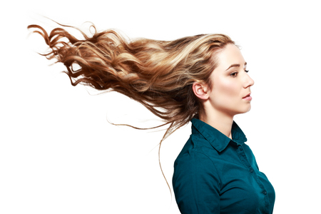 half length portrait: half length portrait of caucasian attractive  young woman with beautiful hair isolated on white background Stock Photo