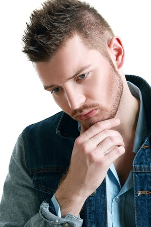 depressive: portrait of young sad depressive man Stock Photo