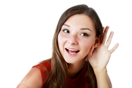 bright picture of young woman listening gossip Stock Photo